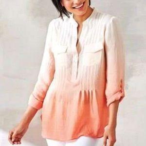 Zac & Rachel Tops - Pretty in pink pin-tuck ombré blouse in XL